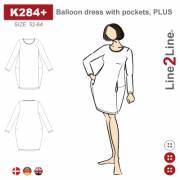 Balloon dress with pockets, PLUS
