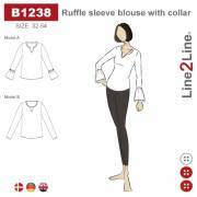 Ruffle sleeve blouse with collar