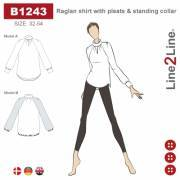 Raglan shirt with pleats and standing collar