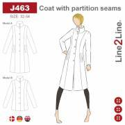 Coat with partition seams