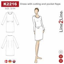 Dress with cutting and pocket flaps