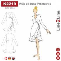 Wrap on dress with flounce