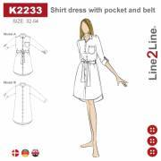 Shirt dress with pocket and belt