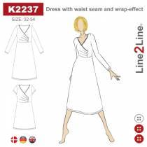 Dress with waist seam and wrap-effect