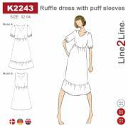 Ruffle dress with puff sleeves