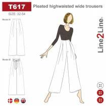 Pleated highwaisted wide trousers